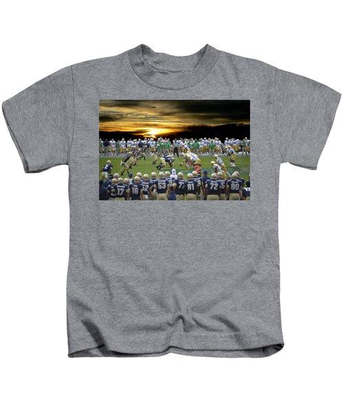 Football Field-notre Dame-navy Kids T-Shirt
