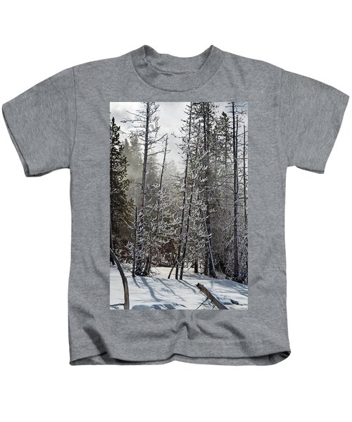 Fountain Paint Pots Shrouded In Snow And Ice Kids T-Shirt