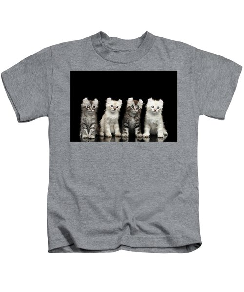 Four American Curl Kittens With Twisted Ears Isolated Black Background Kids T-Shirt