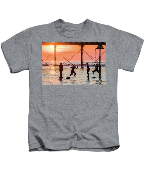 Four Girls Jumping Into The Sea At Sunset Kids T-Shirt