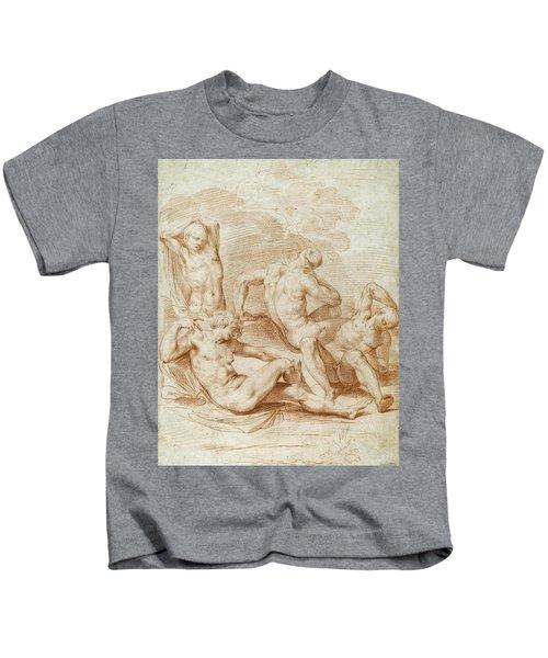 Four Male Nudes In A Landscape Kids T-Shirt