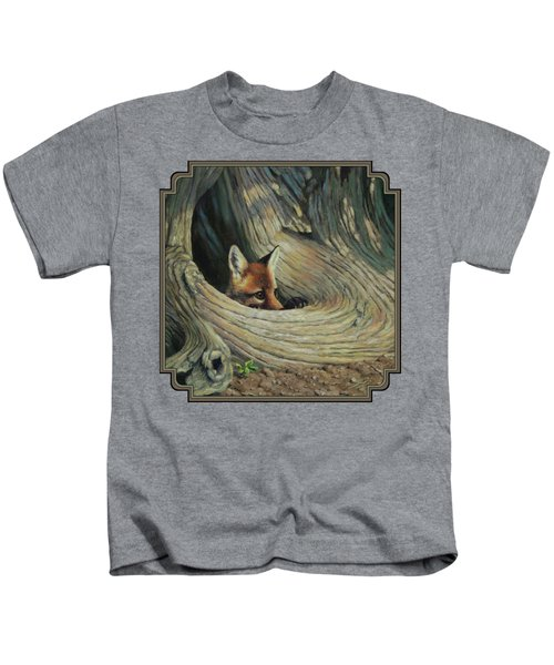 Fox - It's A Big World Out There Kids T-Shirt by Crista Forest