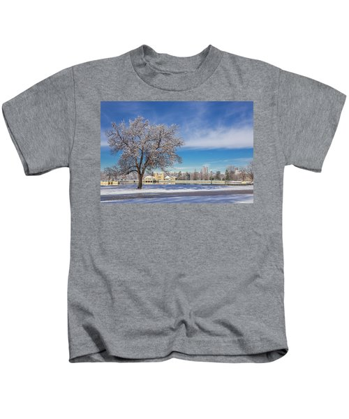 Fresh Spring Snow - City Park, Denver, Colorado Kids T-Shirt