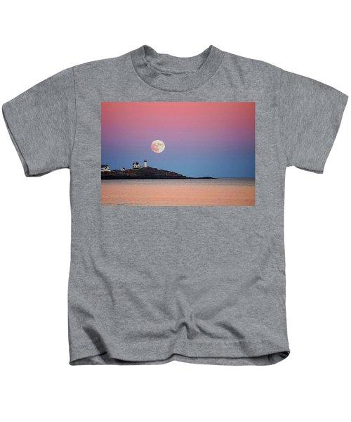 Full Moon Rising At Nubble Light Kids T-Shirt