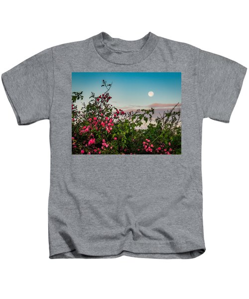 Kids T-Shirt featuring the photograph Full Moon Sets Over Wild Irish Roses In County Clare by James Truett