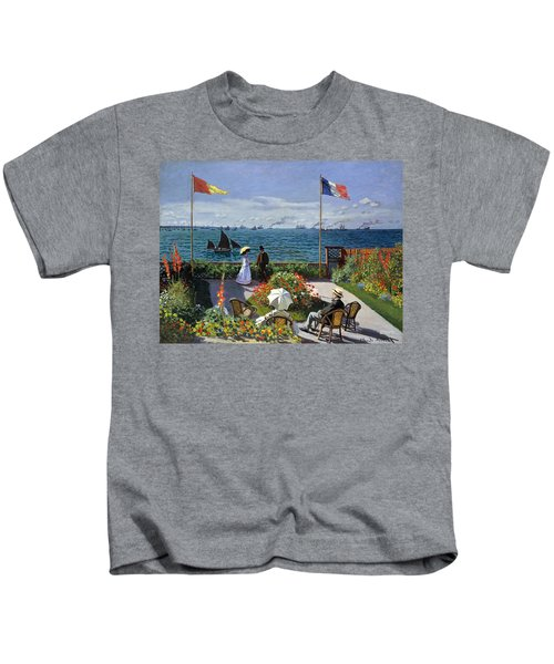 Garden At Sainte Adresse By Claude Monet Kids T-Shirt