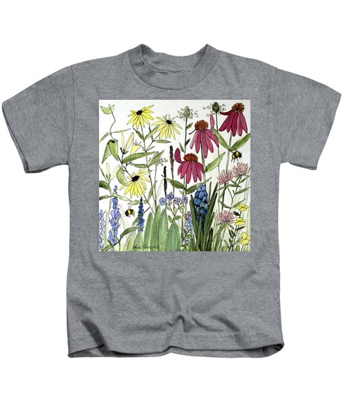 Garden Flowers With Bees Kids T-Shirt