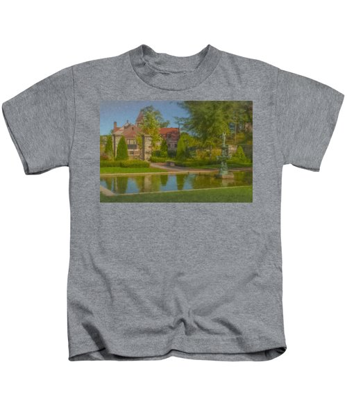 Garden Fountain At Ames Free Library Kids T-Shirt