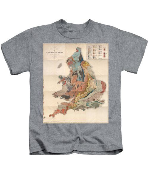 Geological Map Of England And Wales - Historical Relief Map - Antique Map - Historical Atlas Kids T-Shirt