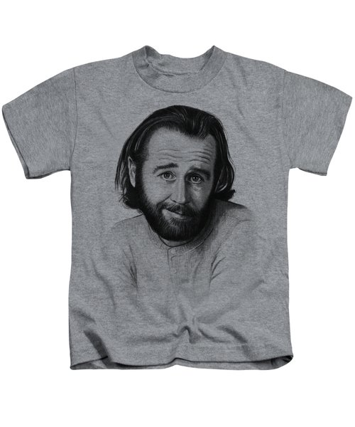 George Carlin Portrait Kids T-Shirt by Olga Shvartsur