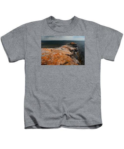 Georgian Bay Rocks Lichen-3675 Kids T-Shirt