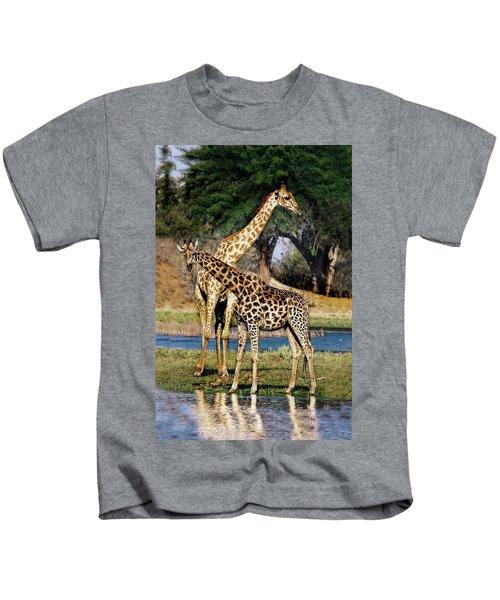 Giraffe Mother And Calf Kids T-Shirt