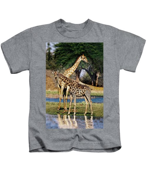 Giraffe Mother And Calf Kids T-Shirt