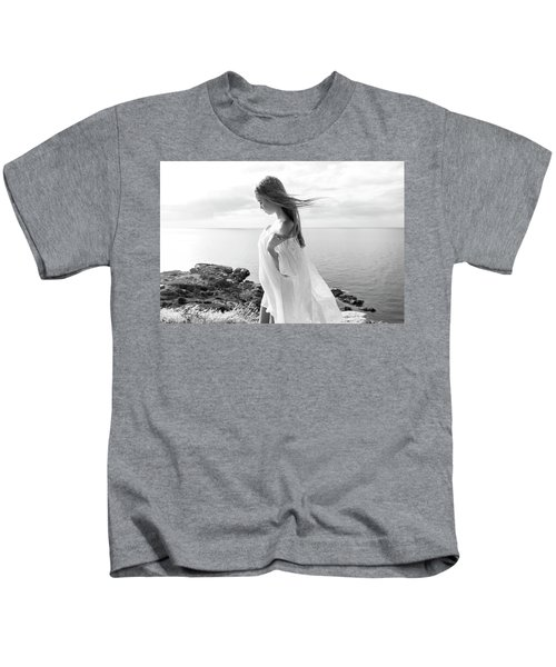 Girl In A White Dress By The Sea Kids T-Shirt