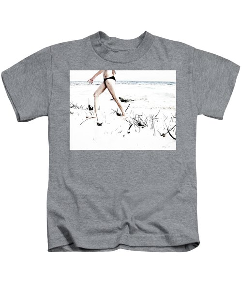 Girl Walking On Beach Kids T-Shirt