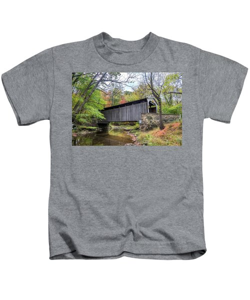 Glen Hope Covered Brige During Autumn Kids T-Shirt