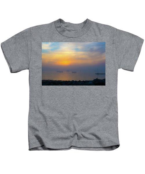 Gloucester Harbor Foggy Sunset Kids T-Shirt