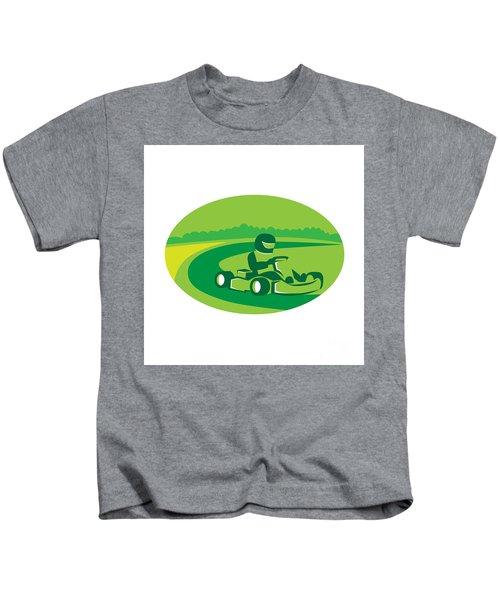 Go Kart Racing Oval Retro Kids T-Shirt