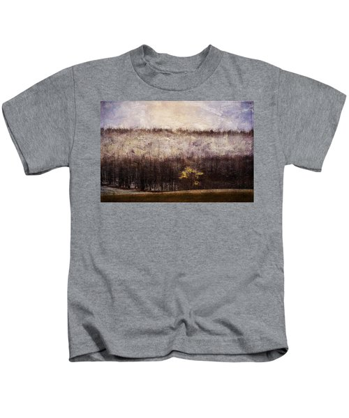 Gold Leafed Tree In Snow Kids T-Shirt