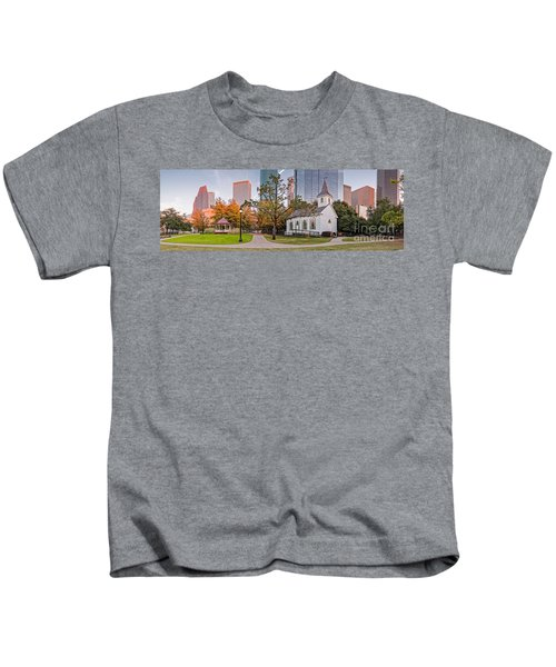 Golden Hour Fall Panorama Of Downtown Houston And St. John Church At Sam Houston Park - Texas Kids T-Shirt