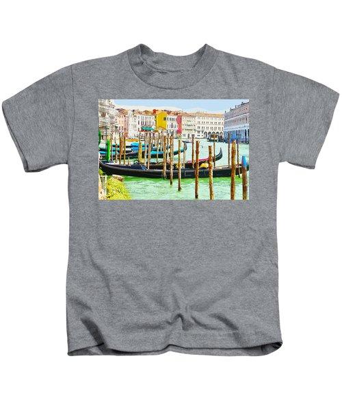 Gondolas On The Grand Canal Venice Italy Kids T-Shirt