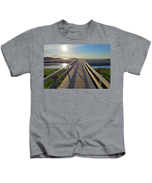 Good Harbor Beach Footbridge Sunny Shadow Kids T-Shirt