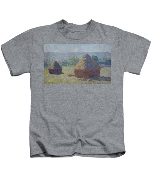 Grainstacks At The End Of Summer, Morning Effect, 1891 Kids T-Shirt