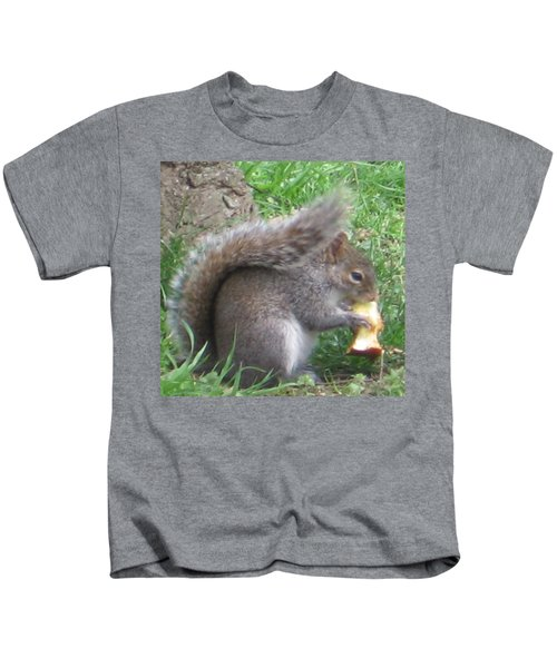 Gray Squirrel With An Apple Core Kids T-Shirt