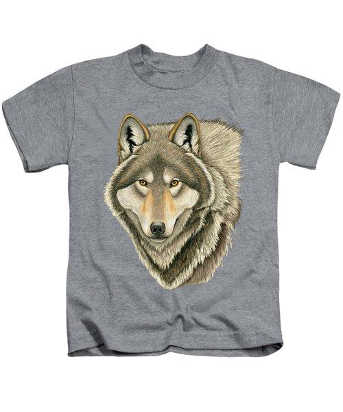Gray Wolf Portrait Kids T-Shirt