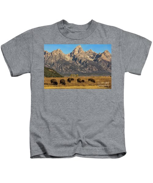 Grazing Under The Tetons Wildlife Art By Kaylyn Franks Kids T-Shirt