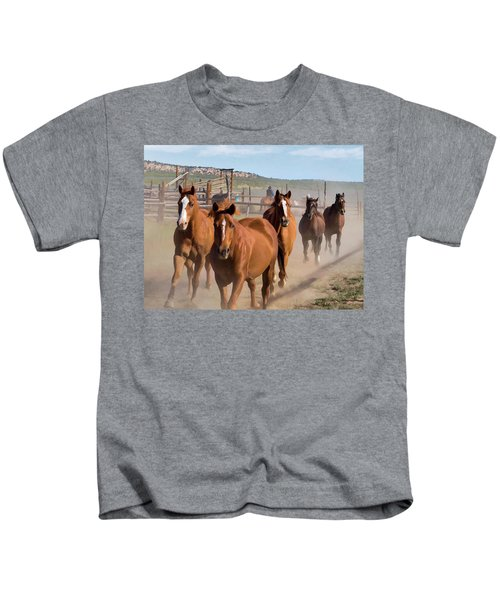 Great American Horse Drive - Coming Into The Corrals Kids T-Shirt
