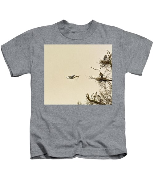 Great Blue Heron Nest Building Kids T-Shirt