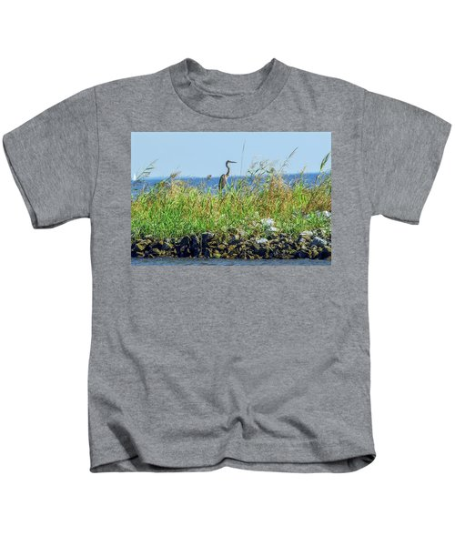 Great Blue Heron On Jetty Kids T-Shirt