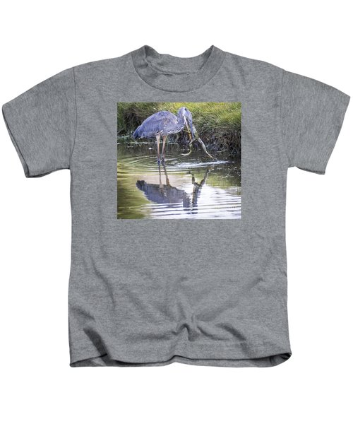Great Blue Heron Vs Huge Frog Kids T-Shirt