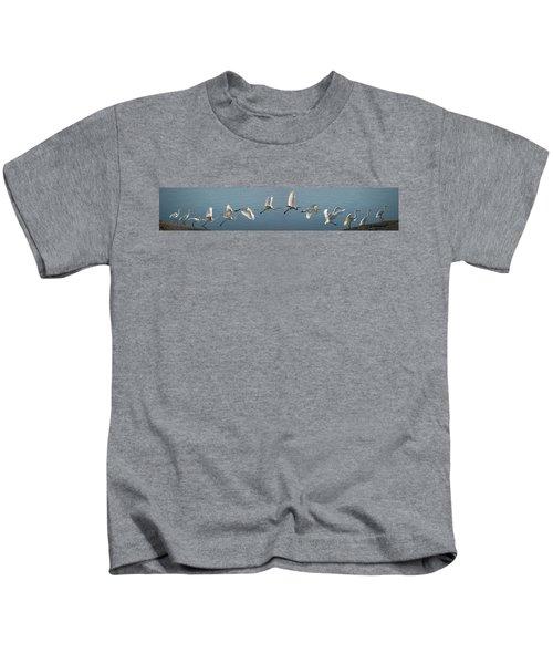 Great Egret Flight Sequence Kids T-Shirt