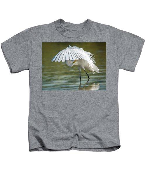 Great Egret Preening 8821-102317-2 Kids T-Shirt