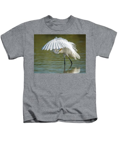Great Egret Preening 8821-102317-2 Kids T-Shirt