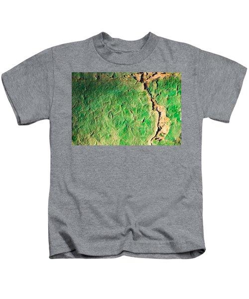 Green Flaking Brickwork Kids T-Shirt