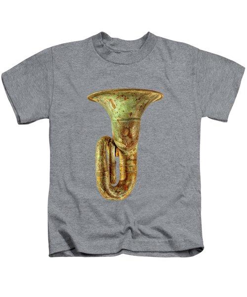 Green Horn Up On Black Kids T-Shirt