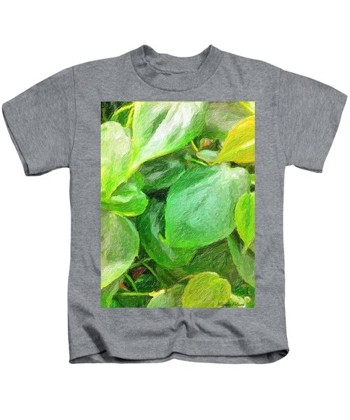Kids T-Shirt featuring the painting Green Leaves by Marian Palucci-Lonzetta