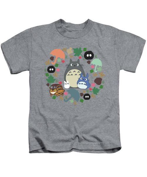 Green Totoro Wreath Kids T-Shirt