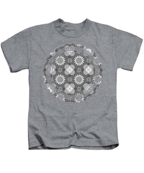 Grey Circles And Flowers Pattern Kids T-Shirt