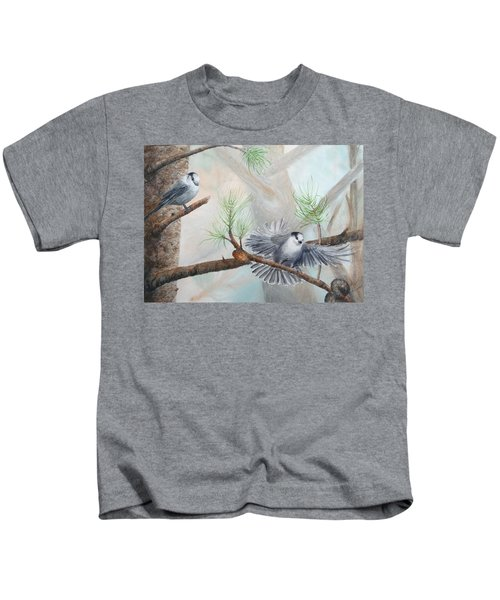 Grey Jays In A Jack Pine Kids T-Shirt