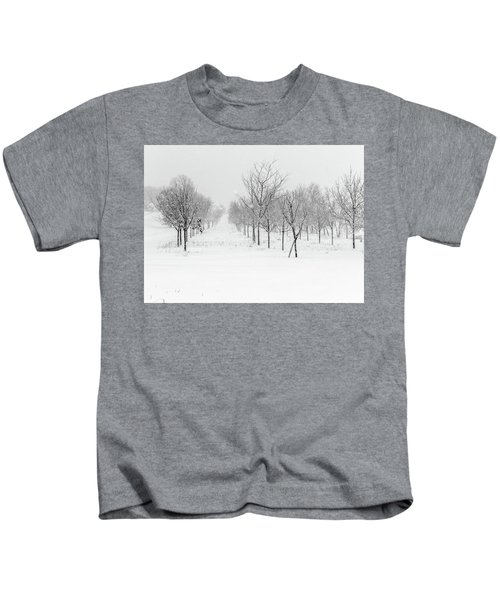 Grove Of Trees In A Snow Storm Kids T-Shirt