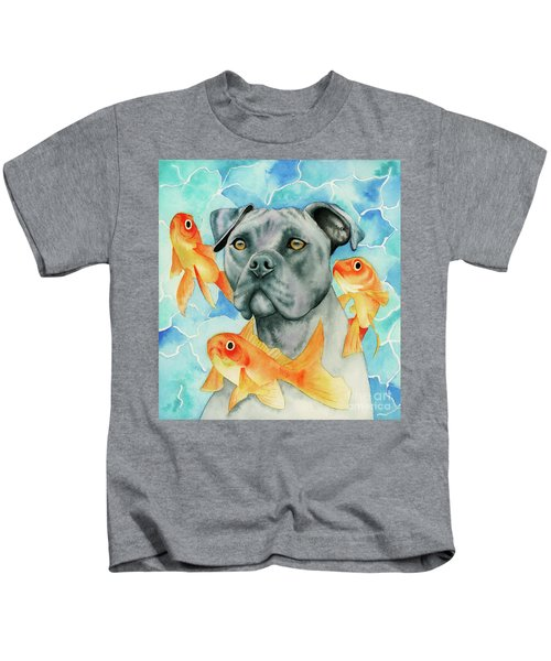 Guardian - Pit Bull Dog And Goldfishes Watercolor Painting Kids T-Shirt