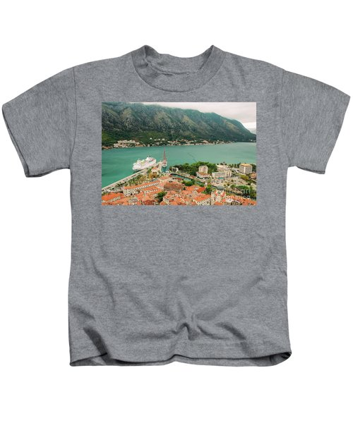 Gulf Of Kotor With Cruise Liner Kids T-Shirt