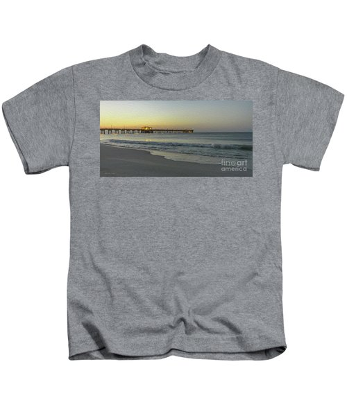 Gulf Shores Alabama Fishing Pier Digital Painting A82518 Kids T-Shirt