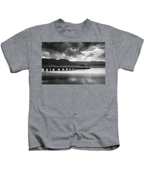 Hanalei Pier In Black And White Kids T-Shirt