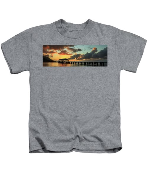 Hanalei Pier Sunset Panorama Kids T-Shirt