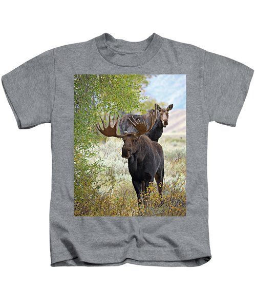 Handsome Bull With Cow Kids T-Shirt